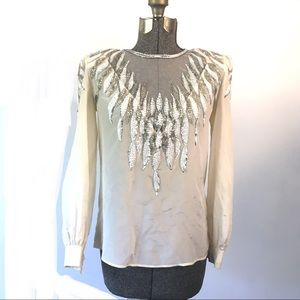 Vintage Silk Sequined Top Vintage Silk Beaded Top